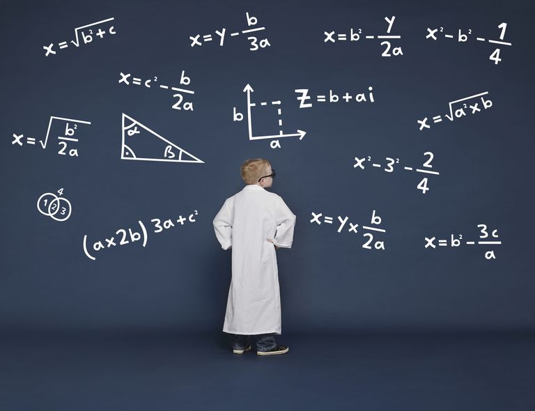 Pictures of a child in a lab coat looking at mathmatical problems